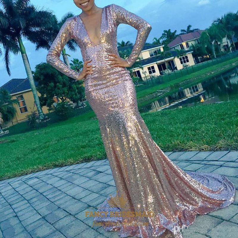 Long Sleeve Deep V Neck Mermaid Sequin Long Prom Dress