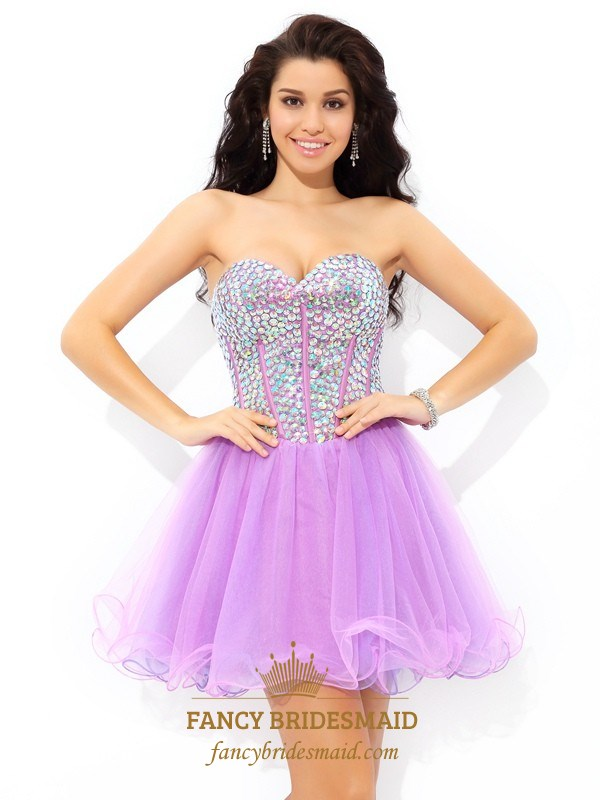 1295149d861 Cute Lilac Short Strapless A-Line Tulle Homecoming Dress With Sequins SKU  -FS2759