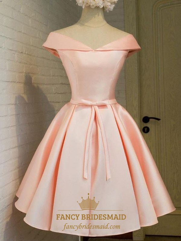 Lovely Simple Peach Knee Length A Line V Neck Satin Homecoming Dress