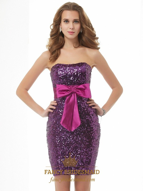 Purple Strapless Short Sequin Cocktail Dress With Detachable Overlay ...