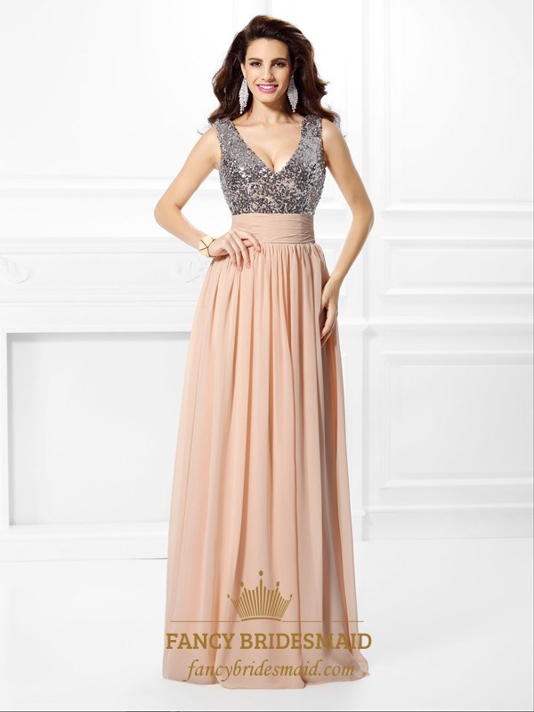 Sleeveless V Neck Sequin Bodice Empire Waist A-Line Long Prom Dress