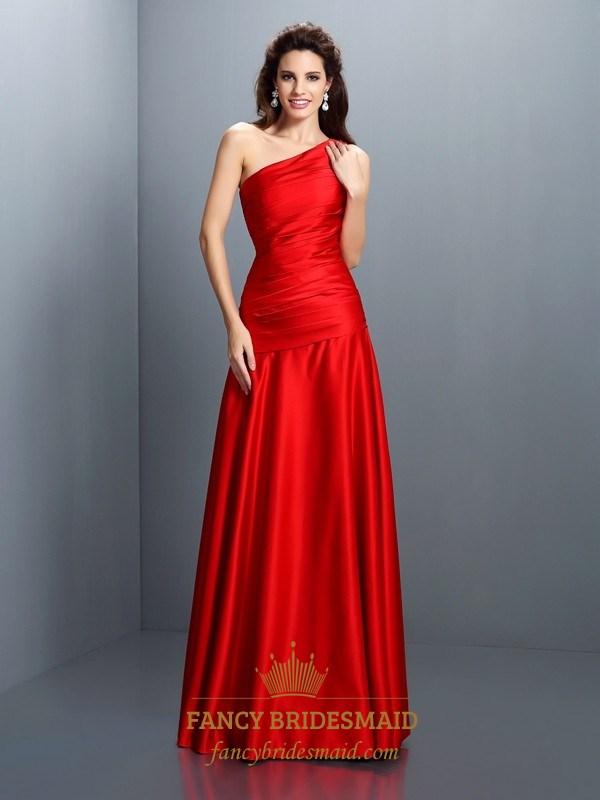 Simple Elegant Red One Shoulder Drop Waist Floor Length Evening ...