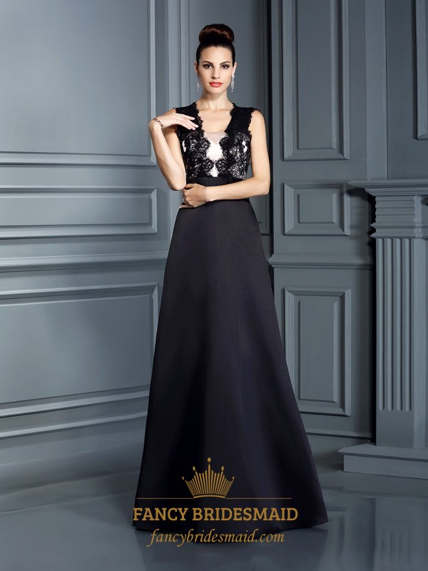 322013074e4 Black Sleeveless Lace Bodice A-Line Long Prom Dress With Keyhole Back SKU  -FS2808