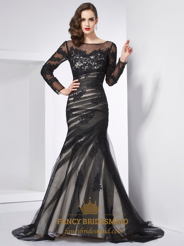 Illusion Black Long Sleeve Applique Tulle Open Back Mermaid Prom ...