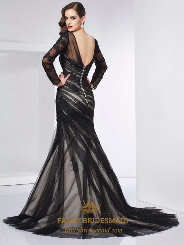 d28c0026bd5e Illusion Black Long Sleeve Applique Tulle Open Back Mermaid Prom Dress