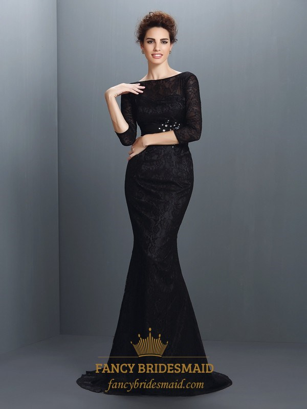 Elegant Black Lace Mermaid Long Formal Dress With 3/4 Length Sleeves ...