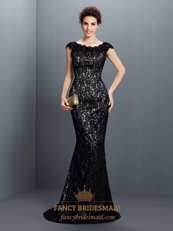 Elegant Simple Black Lace Cap Sleeve Floor Length Mermaid Prom Dress ...