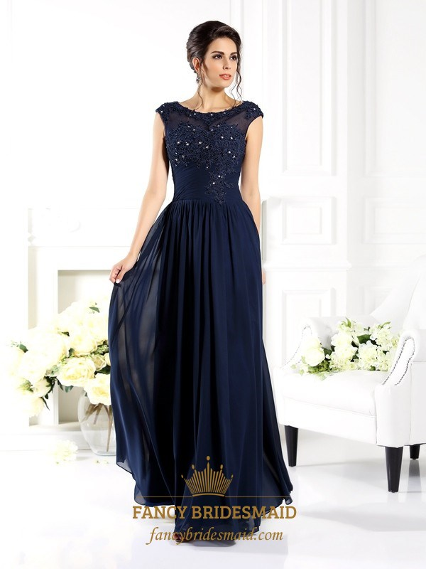 1e86fb81fc69 Navy Blue Cap Sleeve A-Line Long Prom Dress With Illusion Lace Bodice SKU  -FS2831