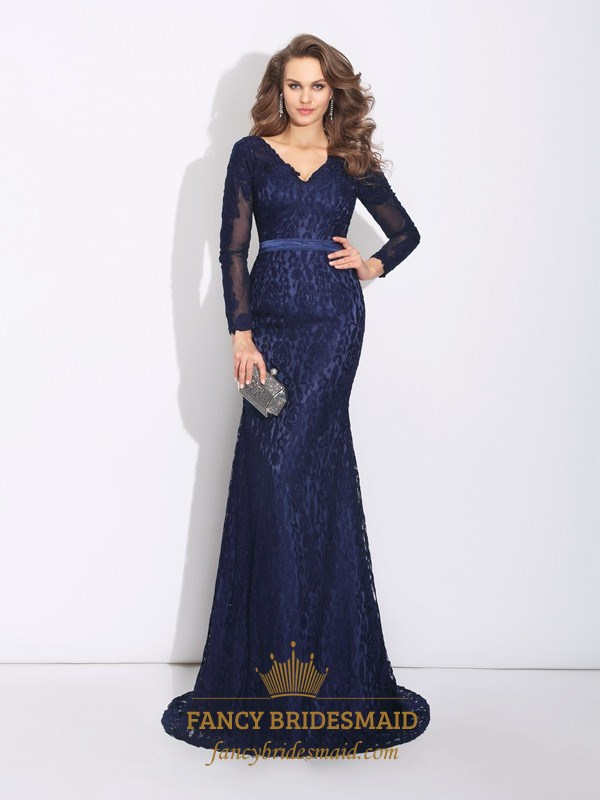 Navy Blue V Neck Lace Mermaid Long Prom Dress With