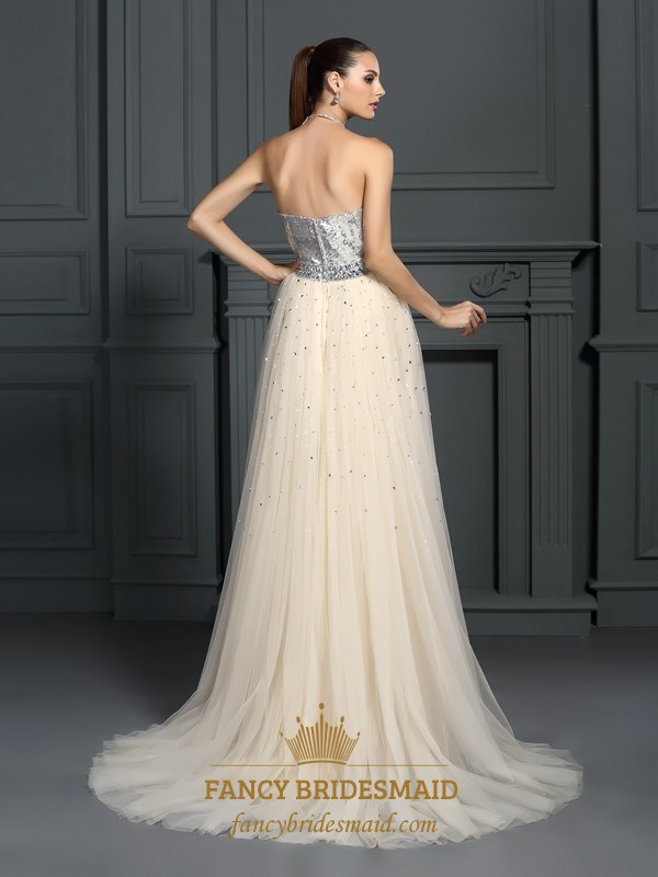 ce20d758 A-Line Strapless Sequin Bodice Tulle Bottom Floor Length Prom Dress ...