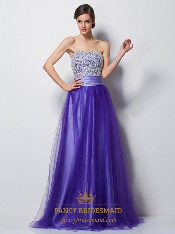 b3e9b00d Purple Strapless Beaded Bodice A-Line Satin Floor-Length Prom Dress ...