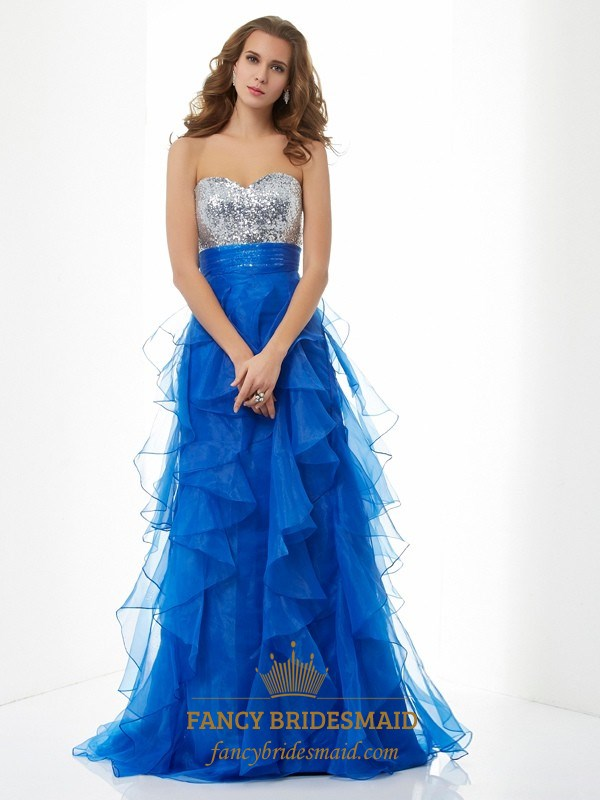 Royal Blue Strapless Empire Waist Sequin Top Ruffle Bottom Prom