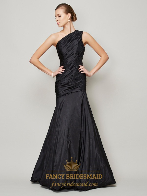 1364f28f10a7 Black One Shoulder Ruched Bodice Drop Waist Mermaid Long Formal Dress SKU  -FS2852