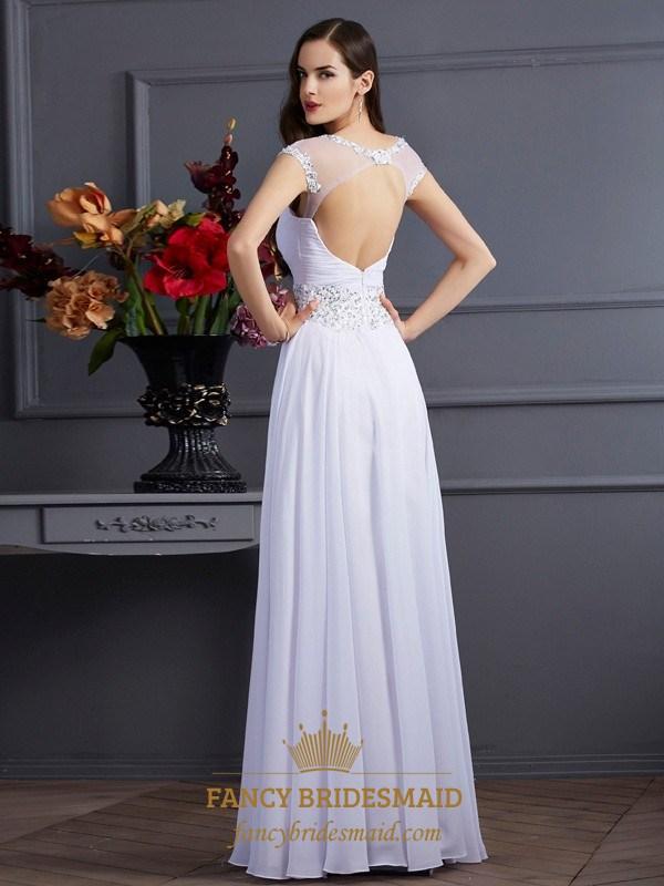 168bb3a9930 White Illusion Neckline A-Line Chiffon Prom Dress With Keyhole Back ...