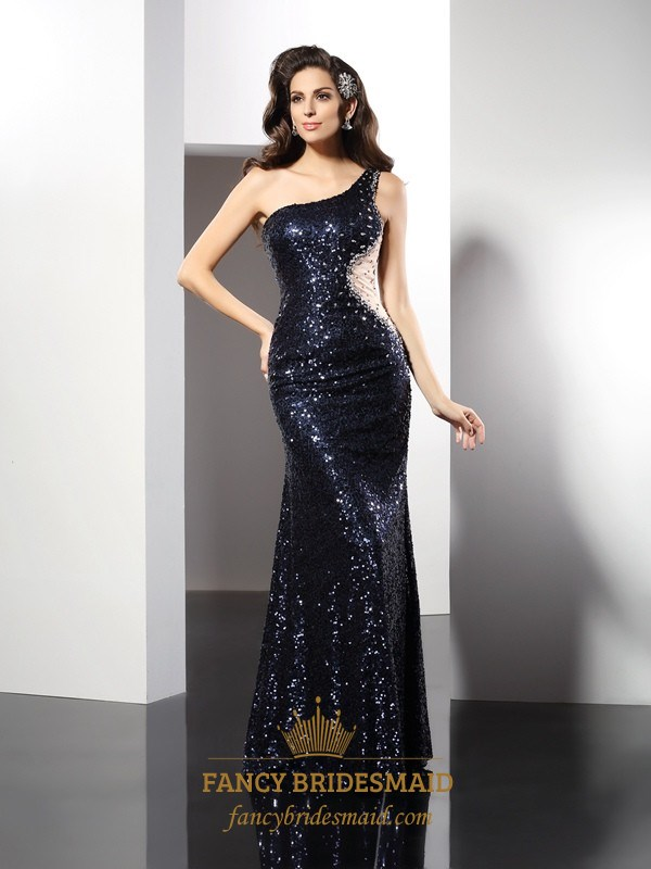 One Shoulder Navy Blue Sequin Mermaid Prom Dress With Illusion Waist ...