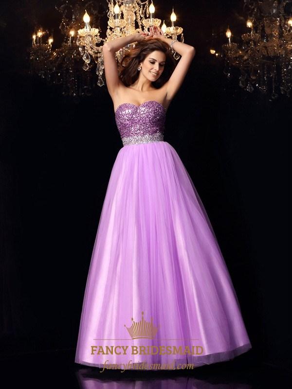 Purple strapless beaded top tulle bottom a line floor for Tulle bottom wedding dress