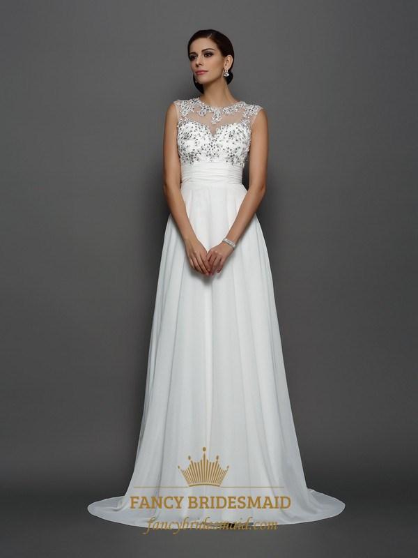 127336b498c White Empire Waist Keyhole Back A-Line Prom Dress With Illusion Bodice SKU  -FS2866