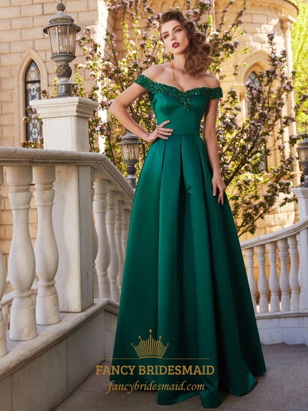 38684d36b4ad Emerald Green Off The Shoulder Satin A Line Floor Length Prom Dress SKU  -FS2879