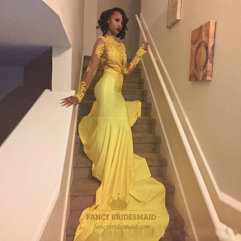 Yellow High Neck Long Sleeve Applique Satin Prom Dress With Train ...