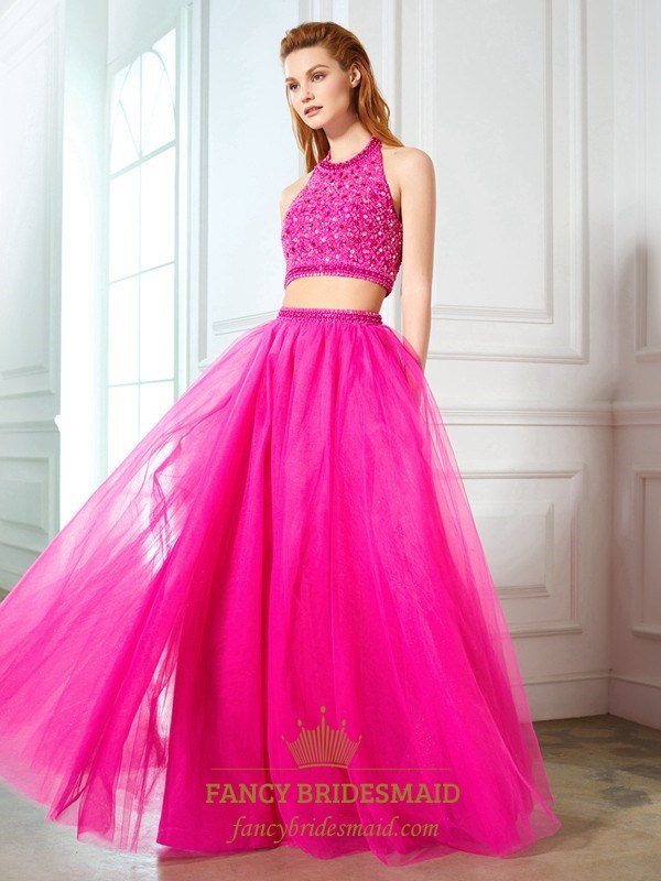 Fuchsia Two Piece Halter Beaded Bodice Tulle Ball Gown Prom Dress ...