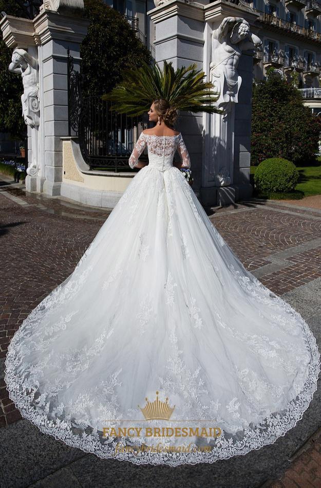 d21e5c3546b17 Off The Shoulder Lace Half Sleeve Buttons Ball Gown Wedding Dress ...