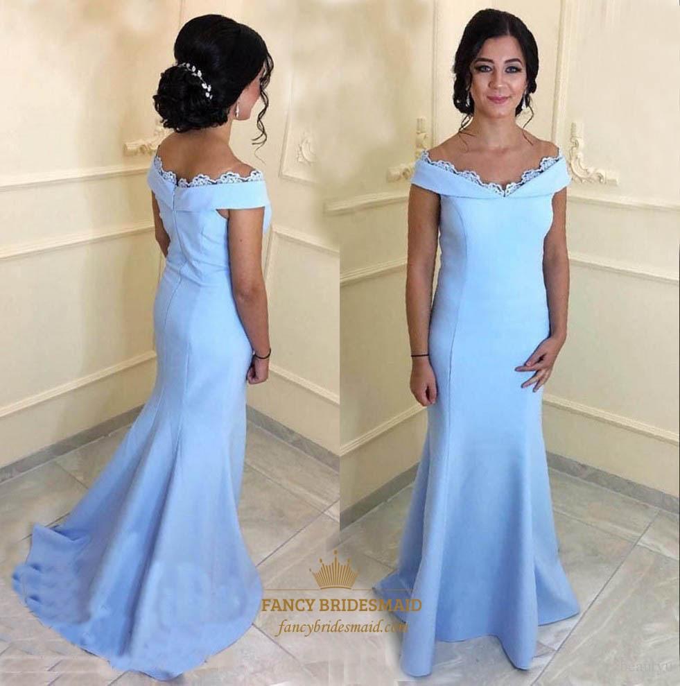 eaea03395b Simple Light Blue Off The Shoulder Lace Embellished Satin Prom Dress SKU  -FS3136