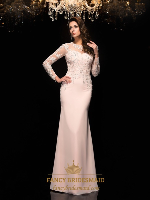 Chiffon Beaded Bodice Prom Dress With Illusion Long Sleeves | Fancy ...