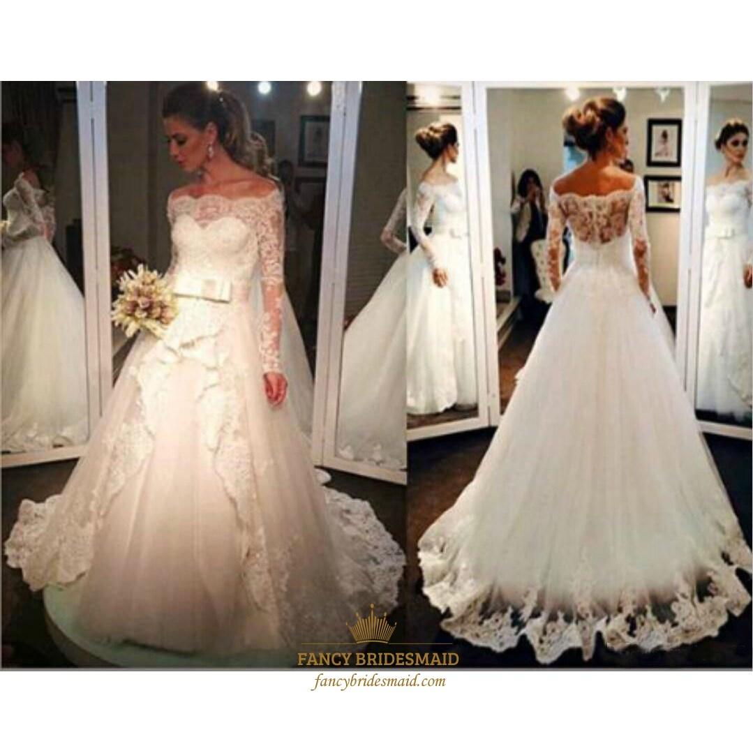 5dc0d6483b3d Illusion Off The Shoulder Lace Applique Tulle Ball Gown Wedding Dress SKU  -FS3148