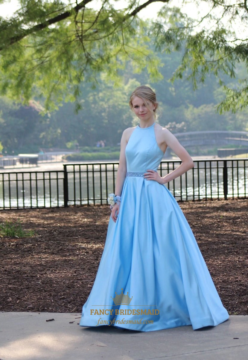 Light Blue Halter Beaded Waist Ball Gown Satin Plus Size Prom Dress ...