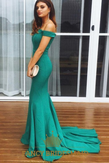 Off The Shoulder Cap Sleeve Floor Length Prom Dress With