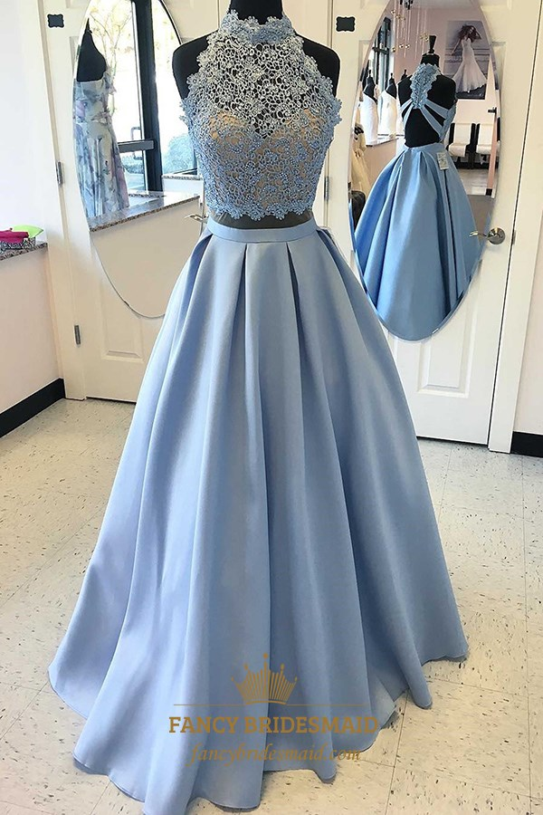 4abbf613c1e4e Light Blue A Line Sleeveless Halter Beaded Satin Two Piece Prom Dress SKU  -FS3214