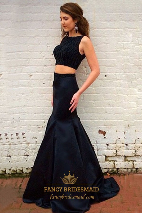 152f93956c10c Black Beaded Sleeveless Floor Length Mermaid Two Piece Prom Dress SKU  -FS3228