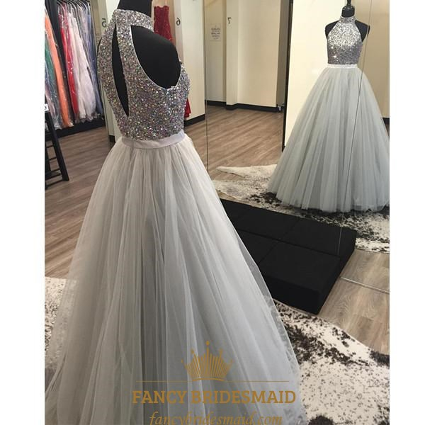 0203bdda805 Sleeveless Halter Beaded Bodice Ball Gown Prom Dress With Keyhole SKU  -FS3252