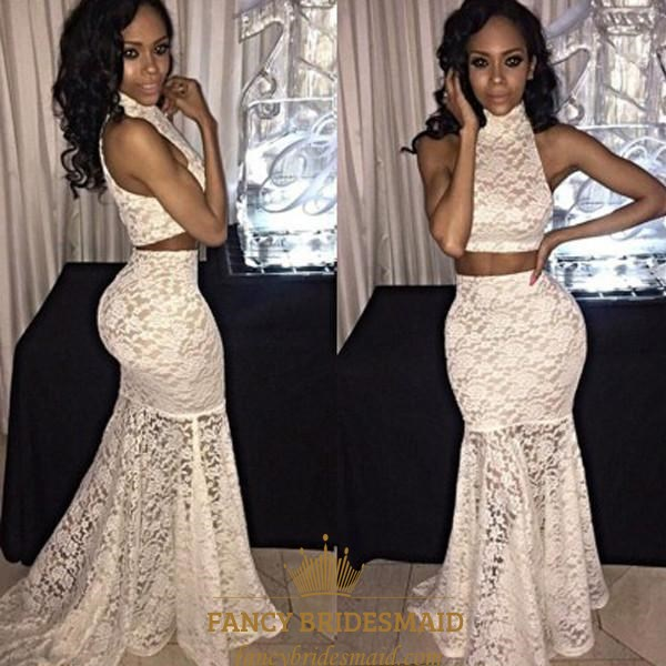 cd1978646e6 White High Neck Floor Length Lace Mermaid Two Piece Prom Dress SKU -FS3253
