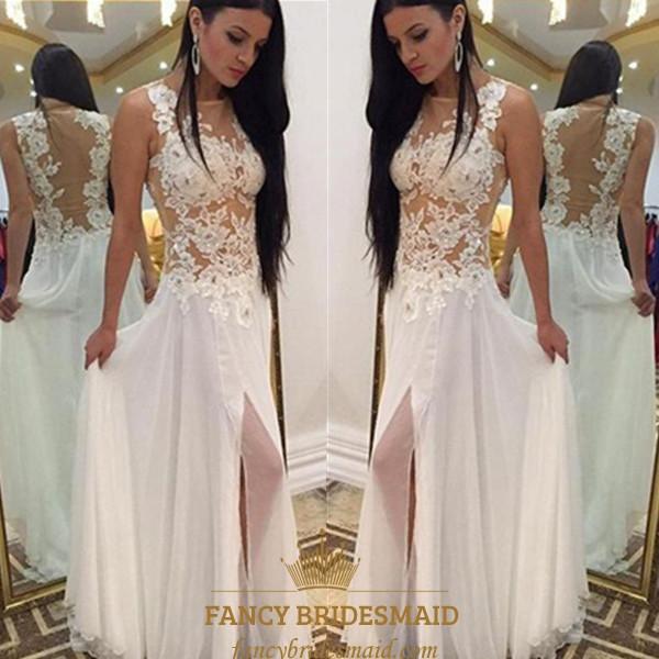 bb71fb9924a Illusion Bateau Long Chiffon Prom Dress With Lace Applique And Split SKU  -FS3260