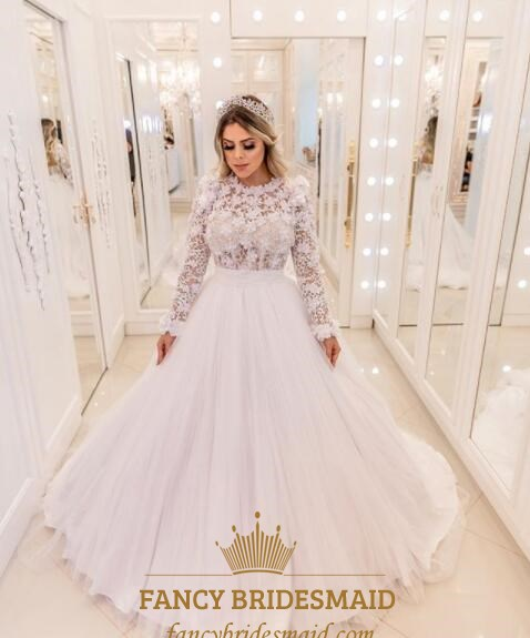 Princess Lace Top Tulle Ball Gown Wedding Dress With Lace Sleeves ...