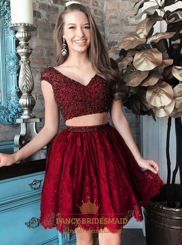 9efe744ee8967 Burgundy Beaded Bodice Cap Sleeve Lace Short Two Piece Prom Dress SKU  -FS3416