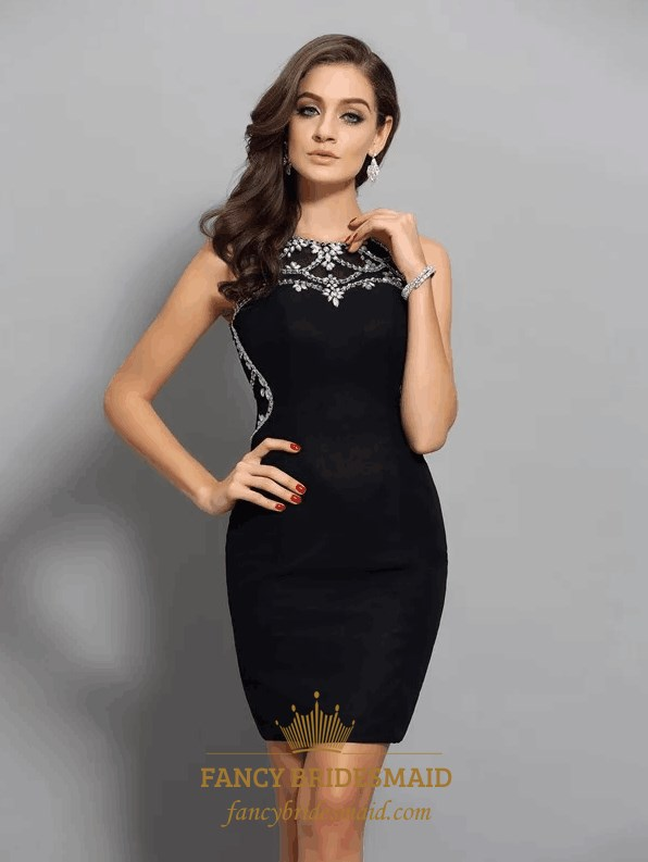 27d7f6bd4fb5 Black Bateau Neckline Crystal Sleeveless Sheath Chiffon Short Dress SKU  -FS3433