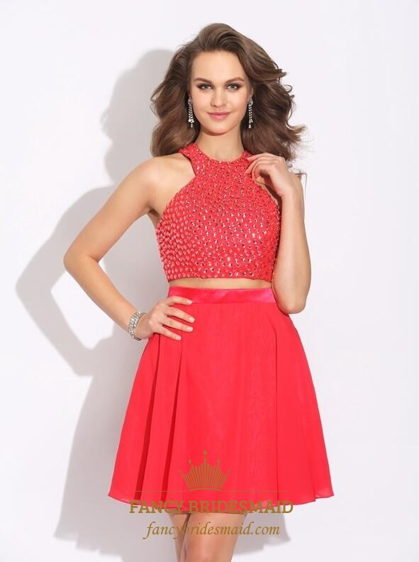 9e75a835d2c Red High Neck Sleeveless Beaded Chiffon Short Two Piece Prom Dress SKU  -FS3502