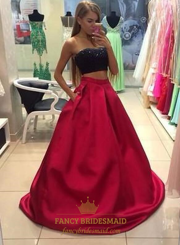 503ddf244e69 A Line Strapless Sleeveless Beaded Satin Two Piece Long Prom Dress SKU  -FS3527