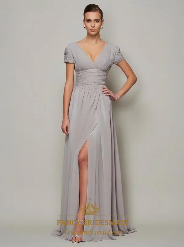 Grey A Line V Neck Short Sleeve Ruched Chiffon Prom Dress