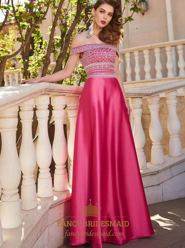 2ad1dc4a34 Fuchsia A Line Off The Shoulder Sleeveless Beaded Satin Prom Dress ...