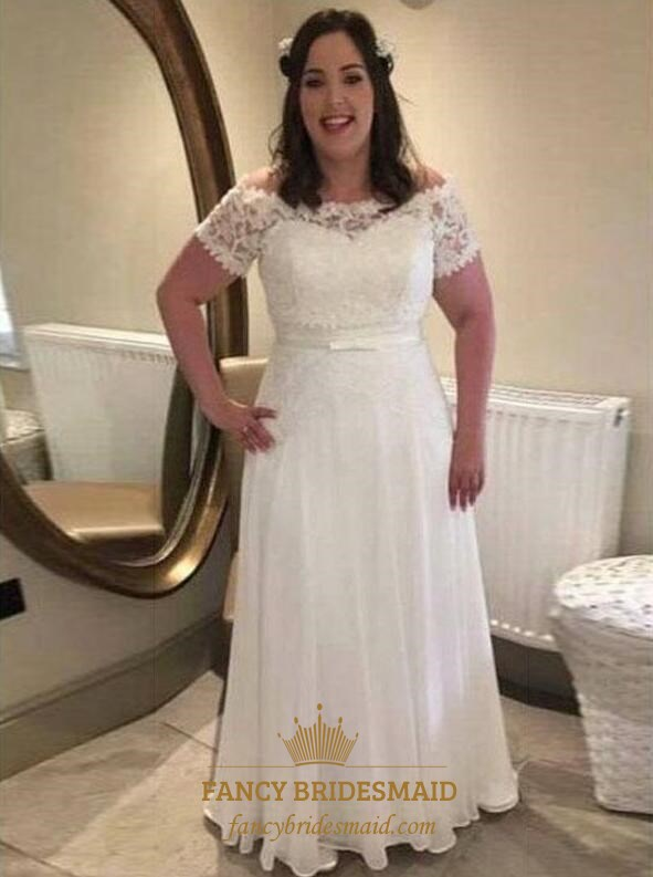 Off The Shoulder Short Sleeve Plus Size Prom Dresses With Applique