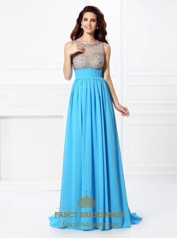 Blue Bateau Prom Dress