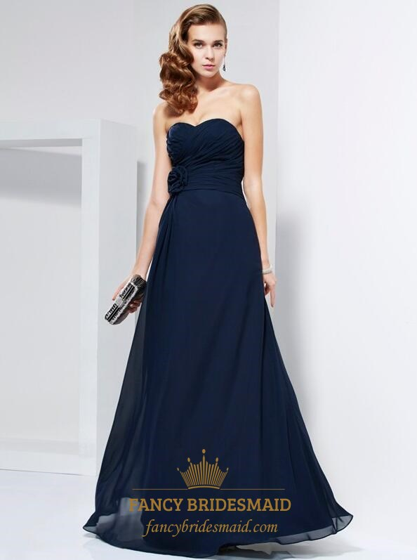 a961c7c47251 A Line Navy Blue Strapless Ruched Chiffon Prom Dress With Flowers SKU  -FS3587