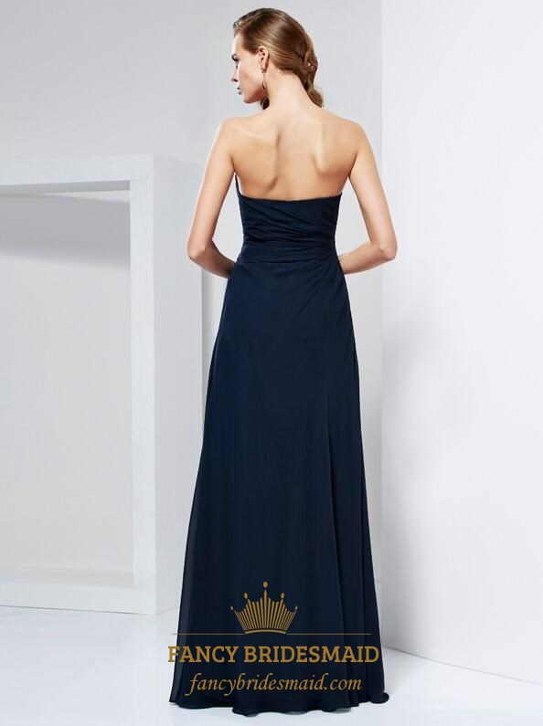 a417f3d257a7 A Line Navy Blue Strapless Ruched Chiffon Prom Dress With Flowers ...