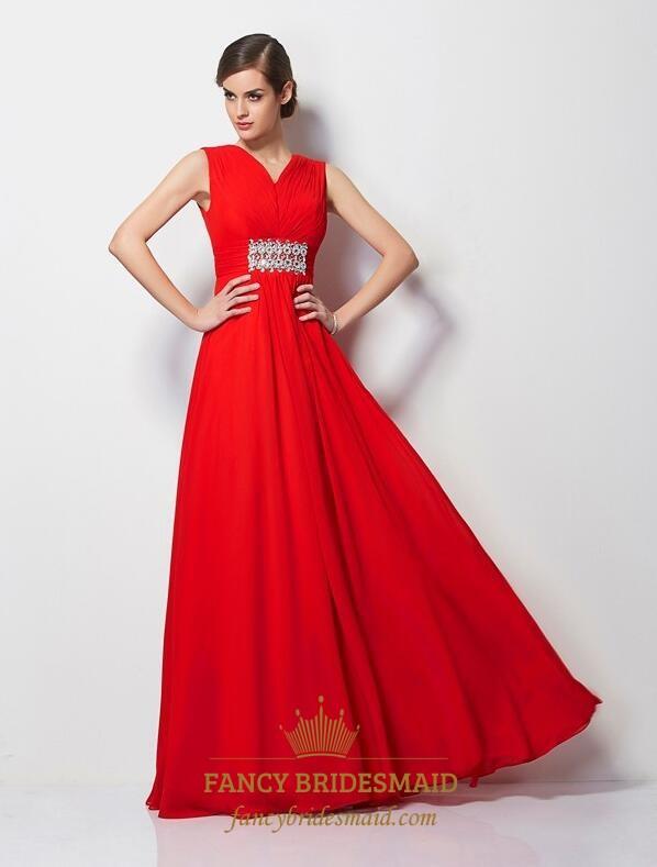 ff2ea8139b72 Elegant Red V Neck Sleeveless Chiffon Prom Dress With Rhinestones SKU  -FS3593