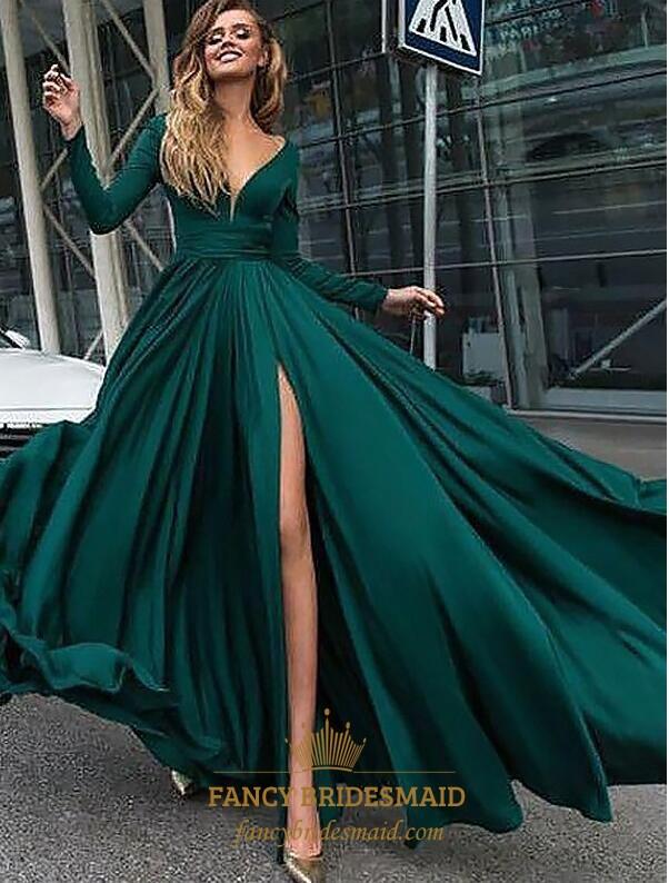 06ef5edcd08 A Line Emerald Green V Neck Long Sleeve Ruched Prom Dress With Split SKU  -FS3594