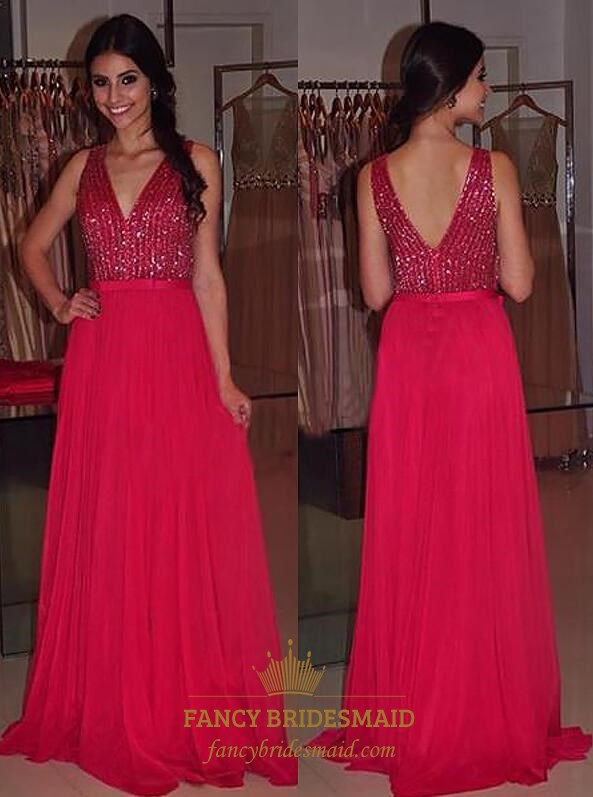 A Line Red V Neck Sleeveless Chiffon Long Prom Dress With Sequin Top ...