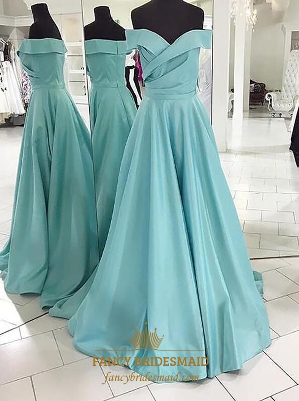 Light Blue Off The Shoulder Sleeveless Ruched Satin Long Prom Dresses SKU  -FS3621 590d8174f